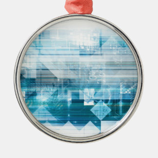 Futuristic Background with Technology Abstract Silver-Colored Round Ornament