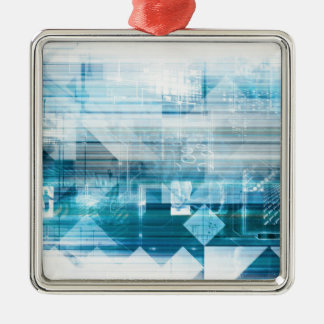 Futuristic Background with Technology Abstract Silver-Colored Square Ornament