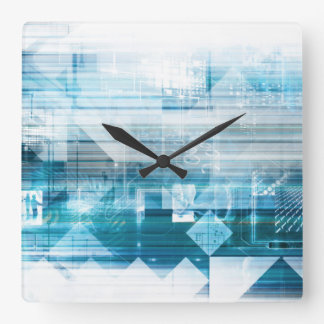 Futuristic Background with Technology Abstract Square Wall Clock