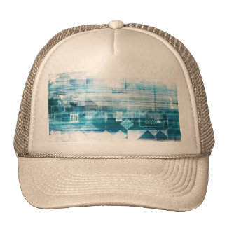 Futuristic Background with Technology Abstract Trucker Hat