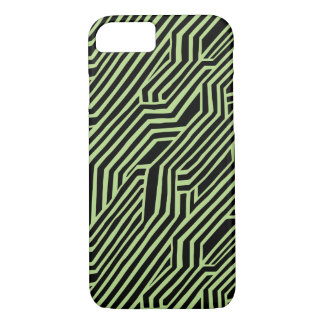 Futuristic Black and Lime Pattern iPhone 7 Case