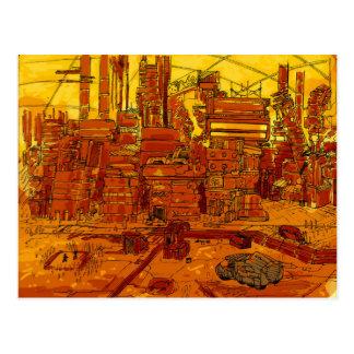 Futuristic city scape postcard