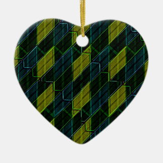 Futuristic Dark Pattern Ceramic Heart Ornament
