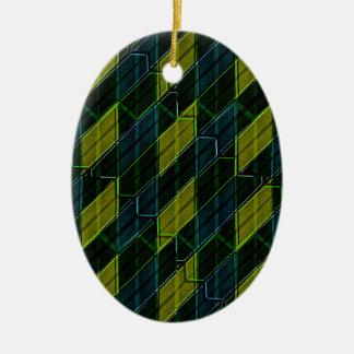 Futuristic Dark Pattern Ceramic Oval Ornament