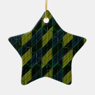 Futuristic Dark Pattern Ceramic Star Ornament