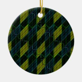 Futuristic Dark Pattern Round Ceramic Ornament