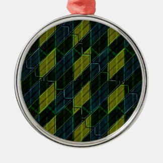 Futuristic Dark Pattern Silver-Colored Round Ornament