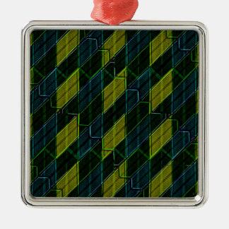 Futuristic Dark Pattern Silver-Colored Square Ornament