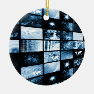 Futuristic Digital Age TV and Channels Background Round Ceramic Ornament