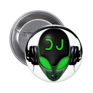 Futuristic DJ with Headphones - Green Style Pinback Button