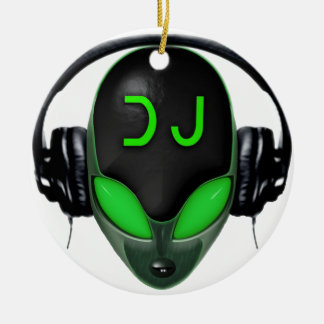 Futuristic DJ with Headphones - Green Style Round Ceramic Ornament