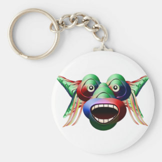 Futuristic Funny Monster Character Face Basic Round Button Keychain