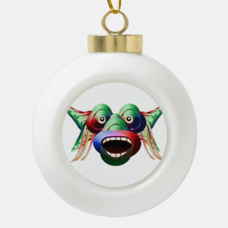 Futuristic Funny Monster Character Face Ceramic Ball Ornament
