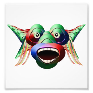 Futuristic Funny Monster Character Face Photo Print