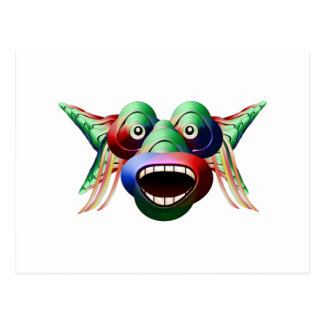 Futuristic Funny Monster Character Face Postcard