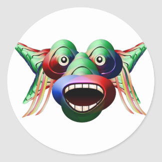 Futuristic Funny Monster Character Face Round Sticker