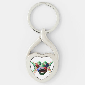 Futuristic Funny Monster Character Face Silver-Colored Twisted Heart Keychain