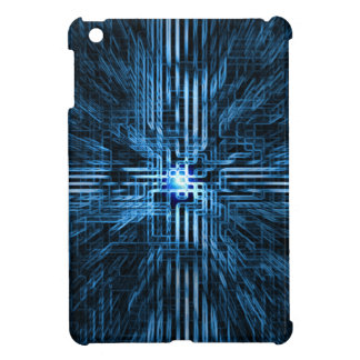 Futuristic, linear, circuit, grid, matrix motion.. iPad mini cases