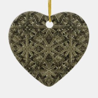 Futuristic Polygonal Ceramic Heart Ornament