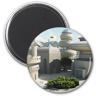 Futuristic Sci-Fi townscape 2 Inch Round Magnet