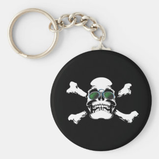 FUTURISTIC SKULL AND BONES LOGO GRAPHICS SCARY GAN KEYCHAIN