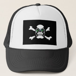 FUTURISTIC SKULL AND BONES LOGO GRAPHICS SCARY GAN TRUCKER HAT