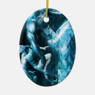 Futuristic Technology Background and Visual Data Ceramic Oval Ornament