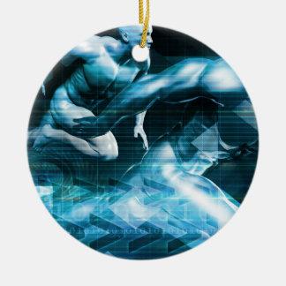 Futuristic Technology Background and Visual Data Round Ceramic Ornament
