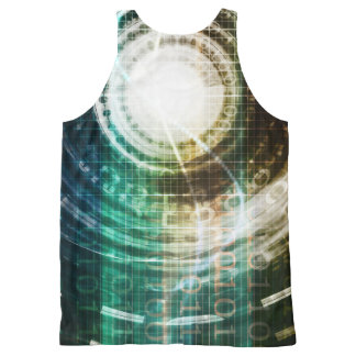 Futuristic Technology Portal with Digital All-Over-Print Tank Top
