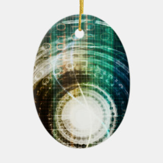 Futuristic Technology Portal with Digital Ceramic Ornament