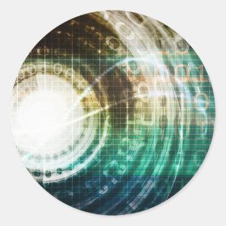 Futuristic Technology Portal with Digital Classic Round Sticker