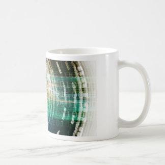 Futuristic Technology Portal with Digital Coffee Mug