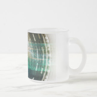 Futuristic Technology Portal with Digital Frosted Glass Coffee Mug