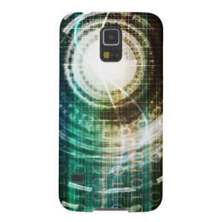 Futuristic Technology Portal with Digital Galaxy S5 Covers