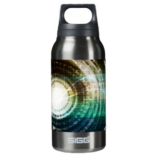 Futuristic Technology Portal with Digital Insulated Water Bottle
