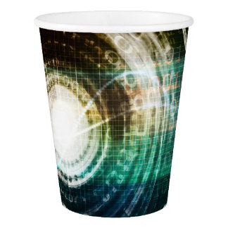 Futuristic Technology Portal with Digital Paper Cup
