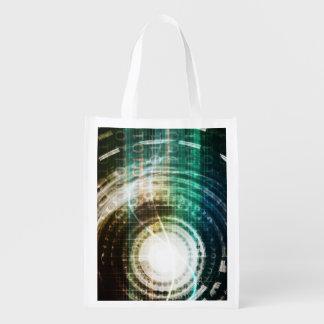 Futuristic Technology Portal with Digital Reusable Grocery Bag