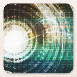 Futuristic Technology Portal with Digital Square Paper Coaster