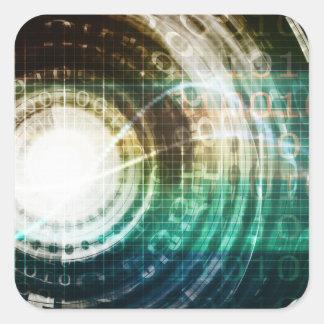 Futuristic Technology Portal with Digital Square Sticker