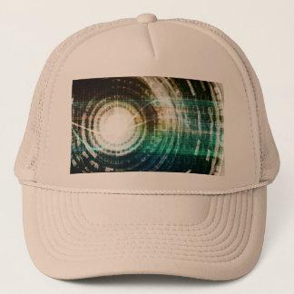 Futuristic Technology Portal with Digital Trucker Hat