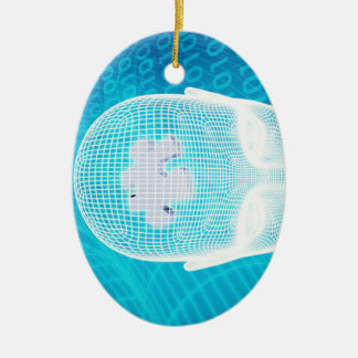 Futuristic Technology with Human Brain Chip Ceramic Ornament