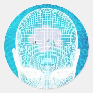 Futuristic Technology with Human Brain Chip Classic Round Sticker