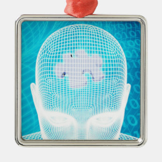 Futuristic Technology with Human Brain Chip Metal Ornament