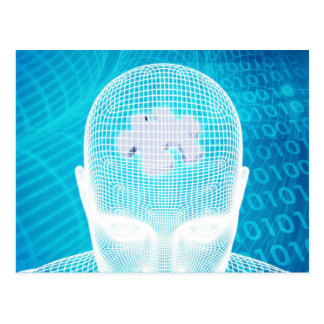 Futuristic Technology with Human Brain Chip Postcard