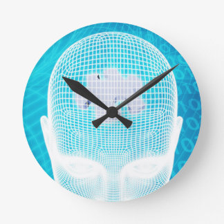 Futuristic Technology with Human Brain Chip Round Clock