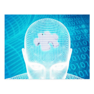 Futuristic Technology with Human Brain Chip Soluti Postcard