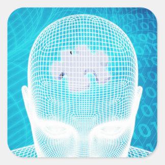 Futuristic Technology with Human Brain Chip Square Sticker