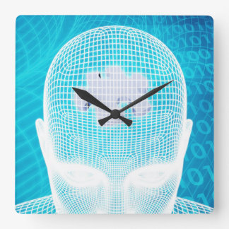 Futuristic Technology with Human Brain Chip Square Wall Clock