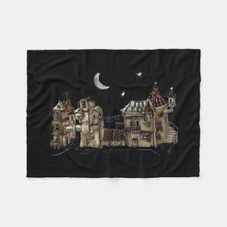 Futuristic town center fleece blanket