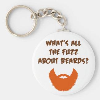 Fuzz About Beards Basic Round Button Keychain